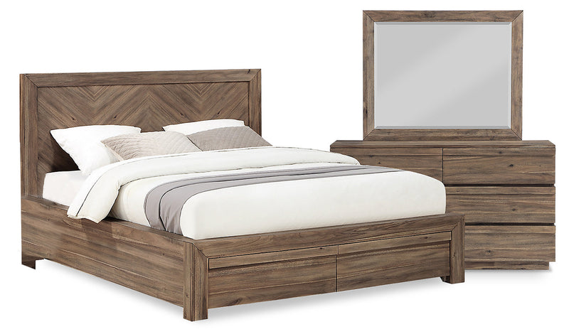 Hayden 5-Piece King Storage Package - {Contemporary} style Bedroom Package in Grey {Acacia}