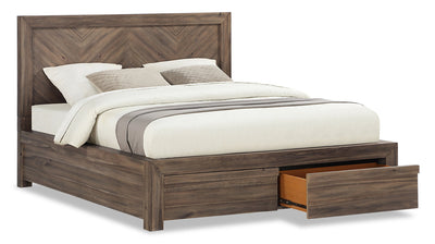 Hayden Queen Storage Bed - {Contemporary} style Bed in Grey {Acacia}
