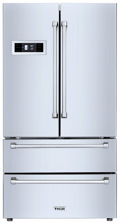 Thor Kitchen 21 Cu. Ft. 4-Door French-Door Refrigerator - HRF3601F-SS|Réfrigérateur 4 portes Thor Kitchen de 21 pi3 à portes françaises - HRF3601F-SS|HRF3601S