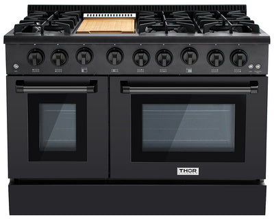 Thor Kitchen 6.7 Cu. Ft. Double-Oven Freestanding Gas Range - HRG4808U-BS|Cuisinière amovible à gaz avec double four Thor Kitchen de 6,7 pi³ – HRG4808U-BS|HRG4808B