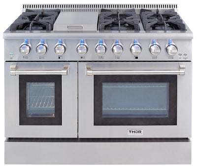Thor Kitchen 6.7 Cu. Ft. Double-Oven Freestanding Gas Range - HRG4808U-SS|Cuisinière amovible à gaz avec double four Thor Kitchen de 6,7 pi³ – HRG4808U-SS|HRG4808S