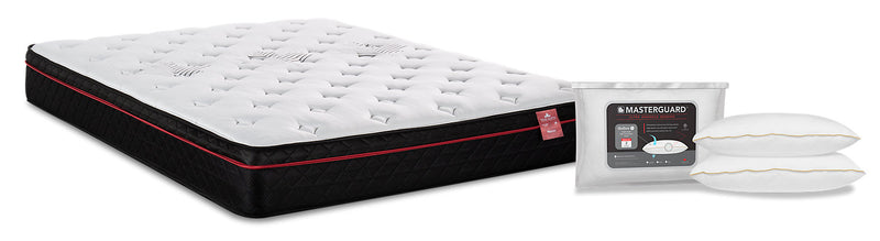 Springwall True North Huron Eurotop Twin Mattress with Masterguard Hollow IV 2-Piece Pillow Set|Matelas à True North Huron de Springwall pour lit simple avec 2 oreillers MasterguardMD Hollow IV