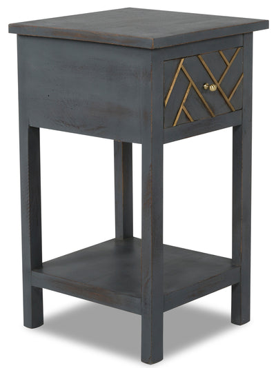 Hudson Accent Table - {Retro}, {Rustic} style End Table in Grey