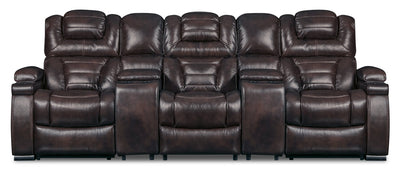 Hugo 5-Piece Genuine Leather Home Theatre Power Reclining Sectional - Brown