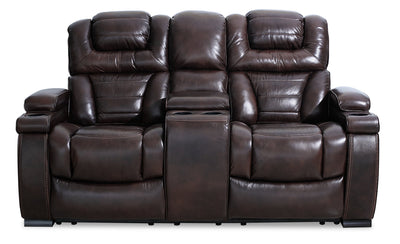 Hugo Genuine Leather Power Reclining Loveseat – Brown|Causeuse à inclinaison électrique Hugo en cuir véritable - brune|HUGOBRPL