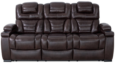 Hugo Genuine Leather Power Reclining Sofa – Brown|Sofa à inclinaison électrique Hugo en cuir véritable - brun|HUGOBRPS