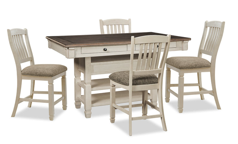 Ilsa 5-Piece Counter-Height Dining Package - {Country} style Dining Room Set in Antique White {Asian Hardwood}