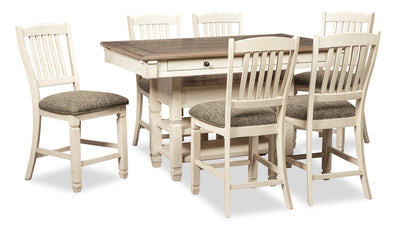 Ilsa 7-Piece Counter-Height Dining Package - {Country} style Dining Room Set in Antique White {Asian Hardwood}
