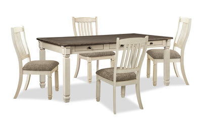 Ilsa 5-Piece Dining Package - {Country} style Dining Room Set in Antique White {Asian Hardwood}