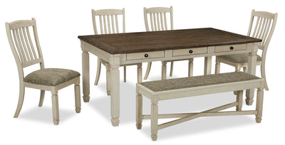 Ilsa 6-Piece Dining Package - {Country} style Dining Room Set in Antique White {Asian Hardwood}