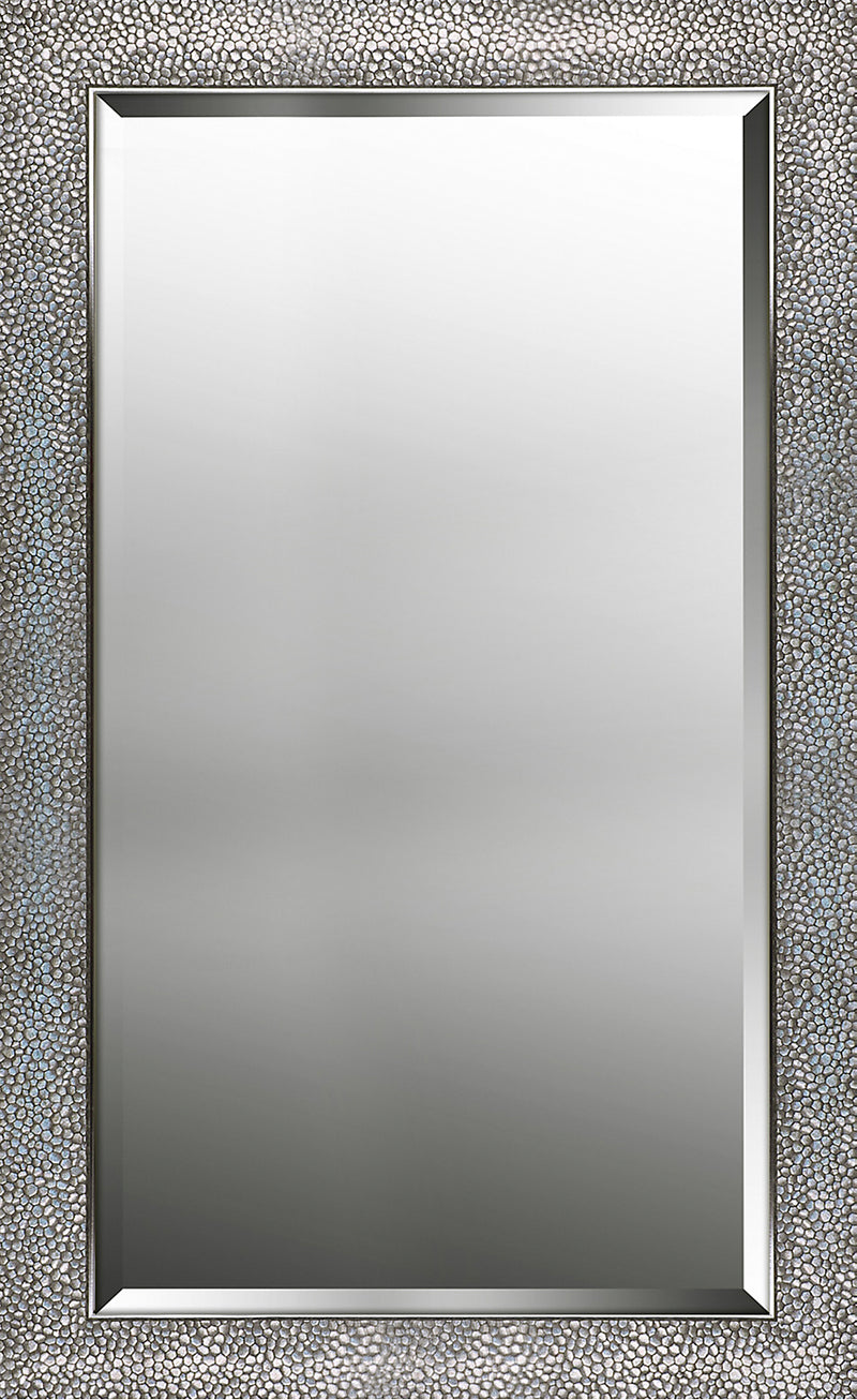 "Hexagon Patterned Silver Finish Mirror - 25.25"" x 33.25""