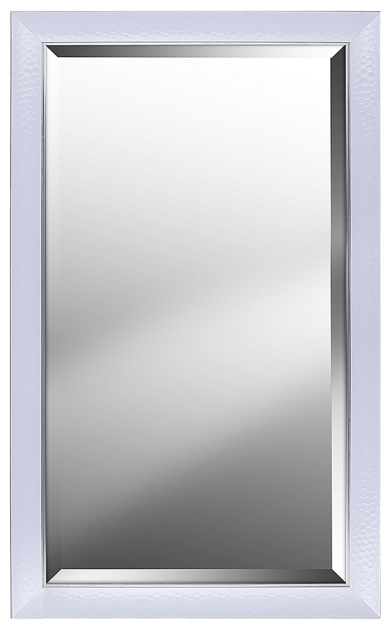 "Hexagon Pattern with White Gloss Finish Mirror - 25"" x 41""