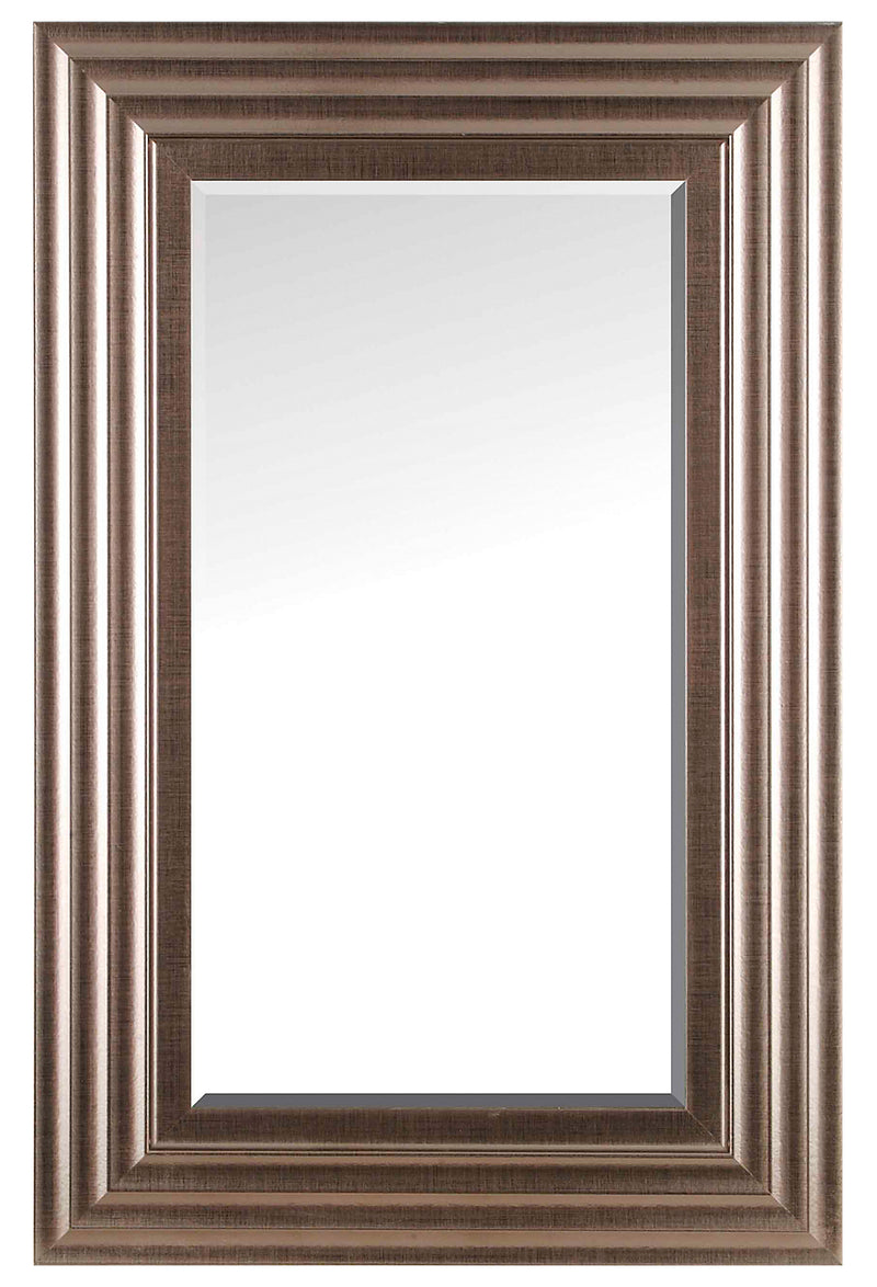 "Chrome Silver Finish Beveled Wall Mirror - 22.5"" x 34.5""