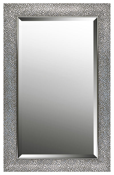 "Hexagon Pattern Silver Finish Mirror - 21"" x 33""