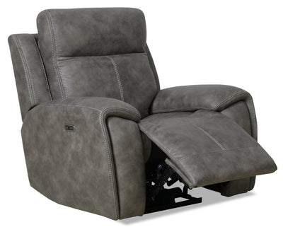 Ingle Faux Suede Power Reclining Chair with Power Headrest - Grey - {Contemporary} style Chair in Grey {Solid Hardwoods}