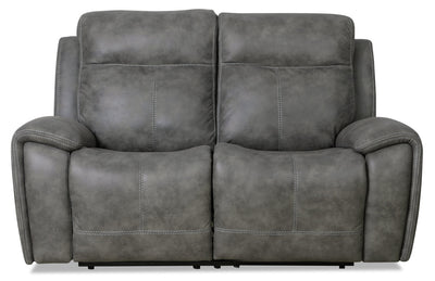 Ingle Faux Suede Power Reclining Loveseat with Power Headrest - Grey