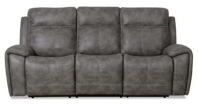 Ingle Faux Suede Power Reclining Sofa with Power Headrest - Grey - {Contemporary} style Sofa in Grey {Solid Hardwoods}