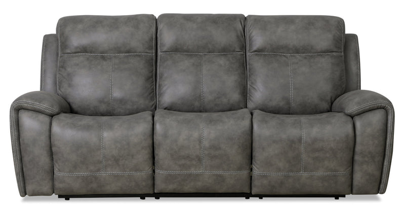 Ingle Faux Suede Power Reclining Sofa with Power Headrest - Grey|Sofa à inclinaison électrique Ingle en suédine avec appuie-tête électrique - gris