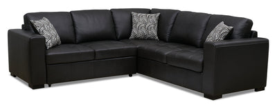 Izzy 2-Piece Genuine Leather Left-Facing Sleeper Sectional – Steel|Sofa-lit sectionnel de gauche Izzy 2 pièces en cuir véritable - acier|IZZLS2SL