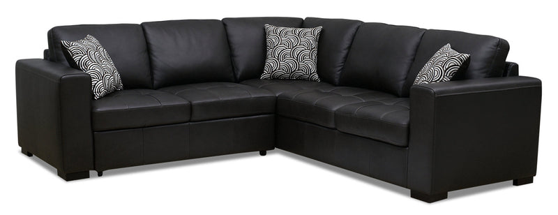 Izzy 2-Piece Genuine Leather Left-Facing Sleeper Sectional – Steel|Sofa-lit sectionnel de gauche Izzy 2 pièces en cuir véritable - acier