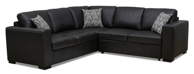 Izzy 2-Piece Genuine Leather Right-Facing Sleeper Sectional – Steel|Sofa-lit sectionnel de droite Izzy 2 pièces en cuir véritable - acier|IZZLS2SR