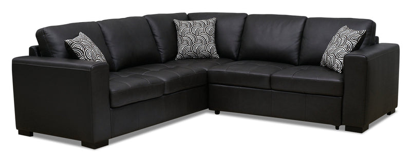 Izzy 2-Piece Genuine Leather Right-Facing Sleeper Sectional – Steel|Sofa-lit sectionnel de droite Izzy 2 pièces en cuir véritable - acier