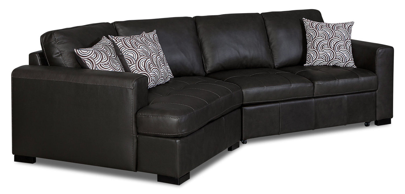 Terrific Izzy 2 Piece Genuine Leather Sleeper Sectional With Left Facing Cuddler Steel Squirreltailoven Fun Painted Chair Ideas Images Squirreltailovenorg