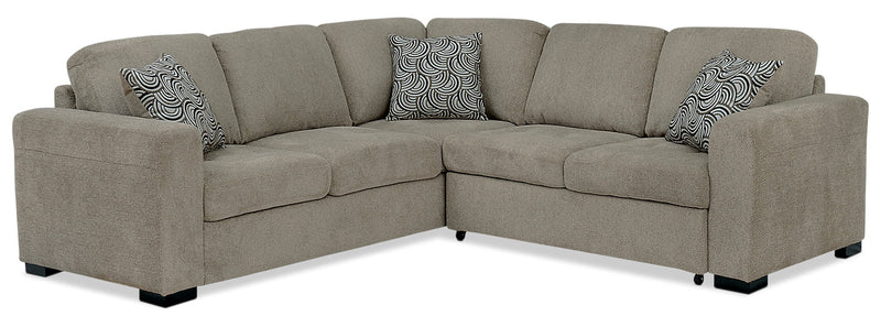 Izzy 2-Piece Chenille Sectional with Right-Facing Sleeper Bed – Platinum|Sofa sectionnel Izzy 2 pièces en chenille avec sofa-lit de droite - platine|IZZPL2SR