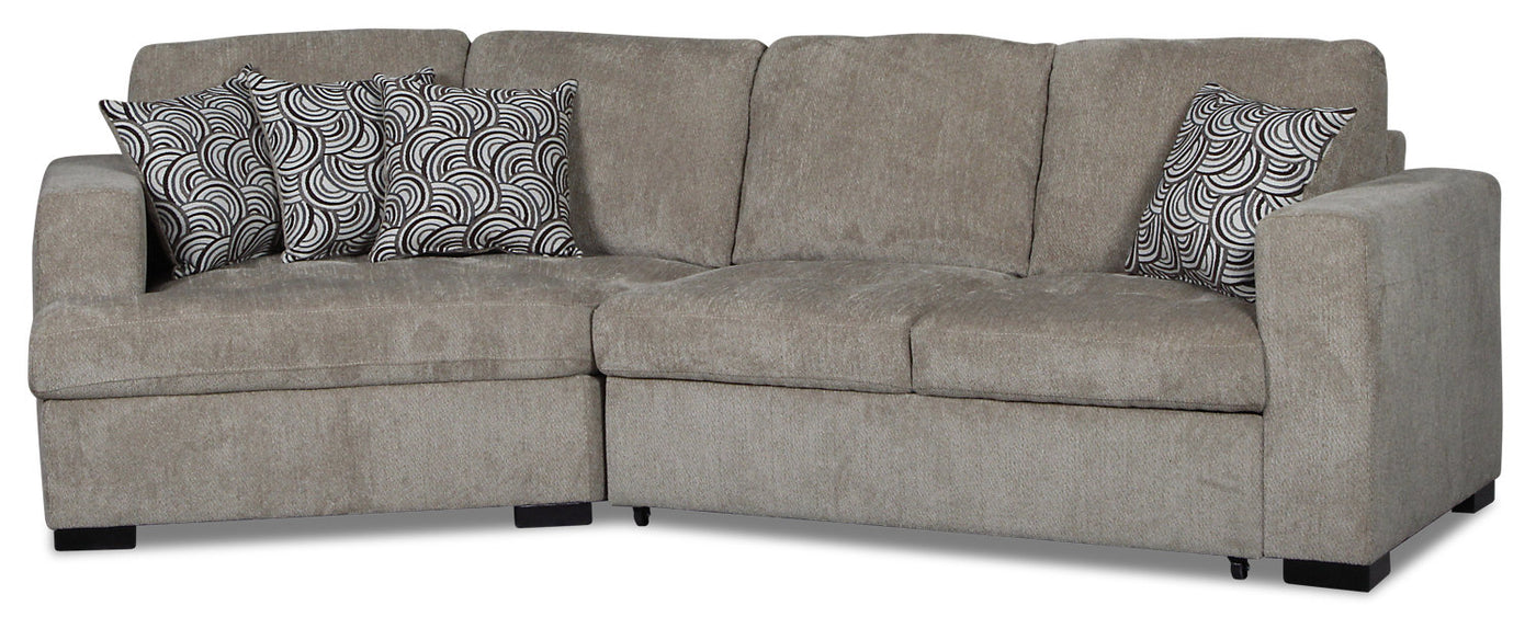 Awesome Izzy 2 Piece Chenille Sleeper Sectional With Left Facing Cuddler Platinum Squirreltailoven Fun Painted Chair Ideas Images Squirreltailovenorg