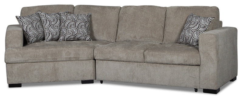 Izzy 2-Piece Chenille Sleeper Sectional with Left-Facing Cuddler - Platinum