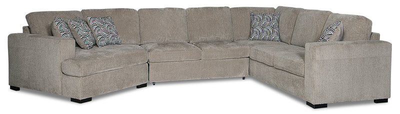 Izzy 3-Piece Chenille Sleeper Sectional with Left-Facing Cuddler - Platinum|Sofa-lit sectionnel Izzy 3 pièces en chenille avec fauteuil arrondi de gauche - platine|IZZPLLC3