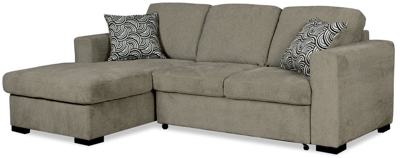 Izzy 2-Piece Chenille Left-Facing Sleeper Sectional – Platinum|Sofa sectionnel de gauche Izzy 2 pièces en chenille avec sofa-lit - platine|IZZPLLS2