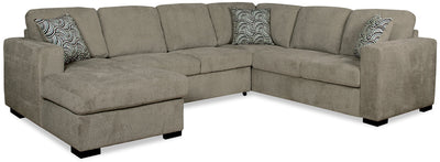Izzy 3-Piece Chenille Left-Facing Sleeper Sectional – Platinum - Contemporary style Sleeper Sectional in Platinum
