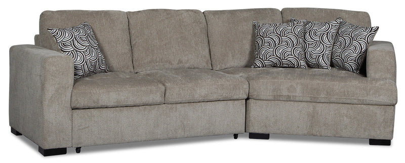 Izzy 2-Piece Chenille Sleeper Sectional with Right-Facing Cuddler - Platinum
