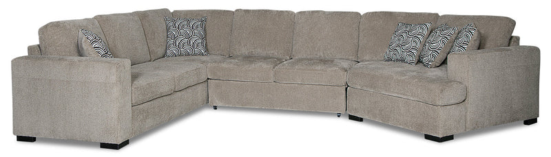 Izzy 3-Piece Chenille Sleeper Sectional with Right-Facing Cuddler - Platinum
