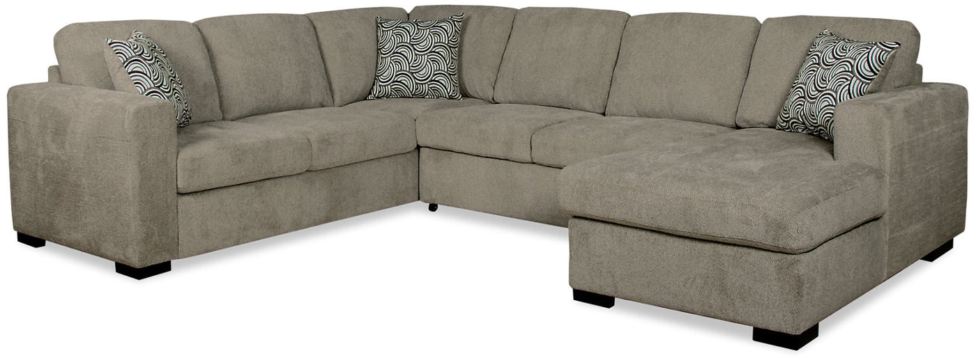 Prime Izzy 3 Piece Chenille Right Facing Sleeper Sectional Platinum Unemploymentrelief Wooden Chair Designs For Living Room Unemploymentrelieforg