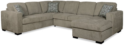 Izzy 3-Piece Chenille Right-Facing Sleeper Sectional – Platinum - Contemporary style Sleeper Sectional in Platinum