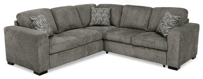 Izzy 2-Piece Chenille Sectional with Right-Facing Sleeper Bed – Pewter