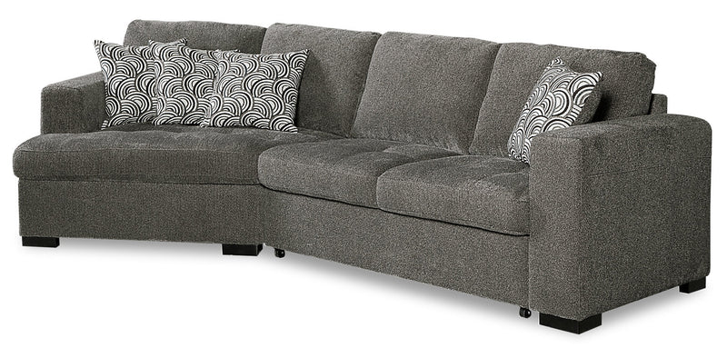 Izzy 2-Piece Chenille Sleeper Sectional with Left-Facing Cuddler - Pewter