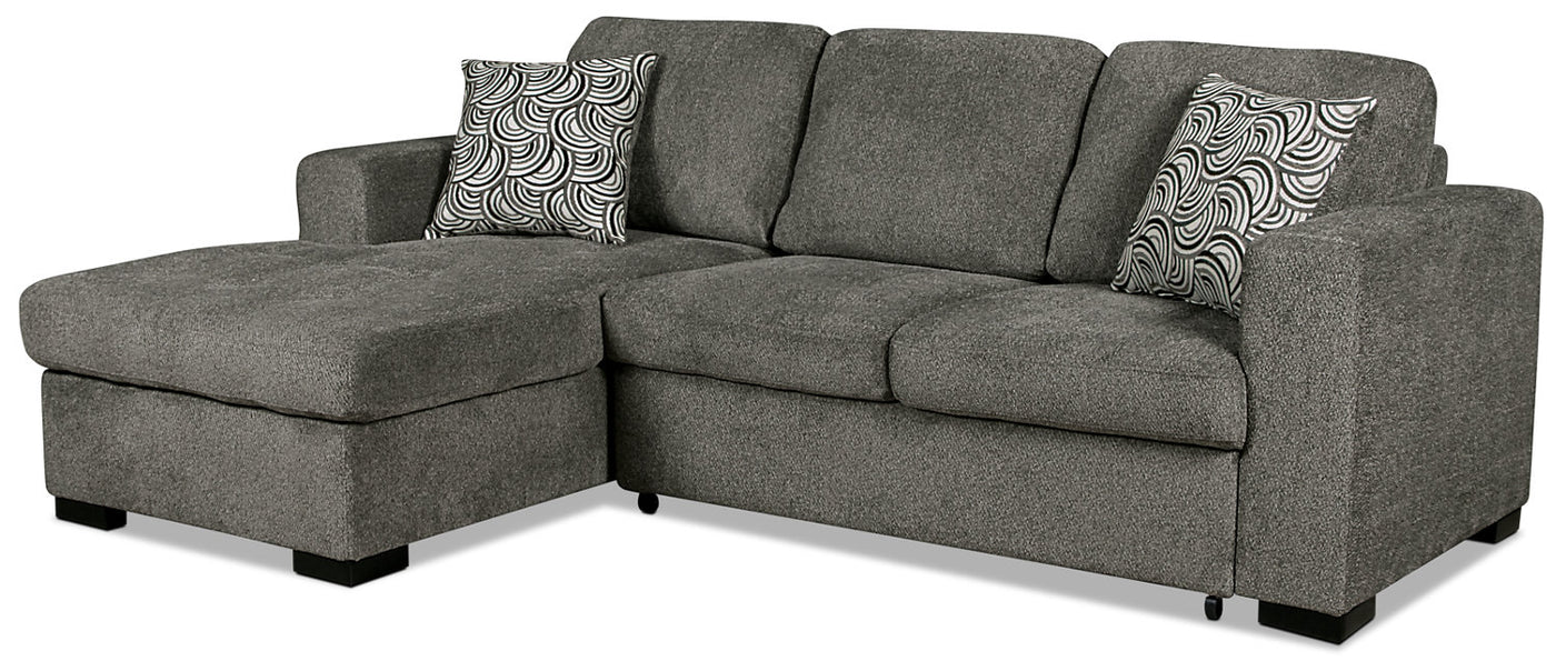 Izzy 2-Piece Chenille Left-Facing Sleeper Sectional – Pewter