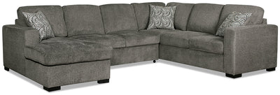 Izzy 3-Piece Chenille Left-Facing Sleeper Sectional – Pewter - Contemporary style Sleeper Sectional in Pewter