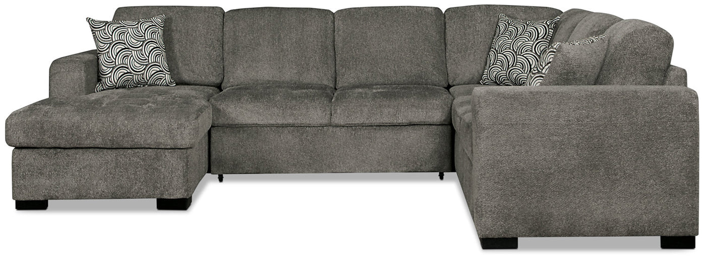 Izzy 3-Piece Chenille Left-Facing Sleeper Sectional – Pewter