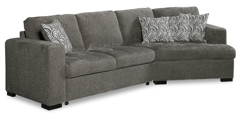 Izzy 2-Piece Chenille Sleeper Sectional with Right-Facing Cuddler - Pewter