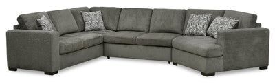 Izzy 3-Piece Chenille Sleeper Sectional with Right-Facing Cuddler - Pewter