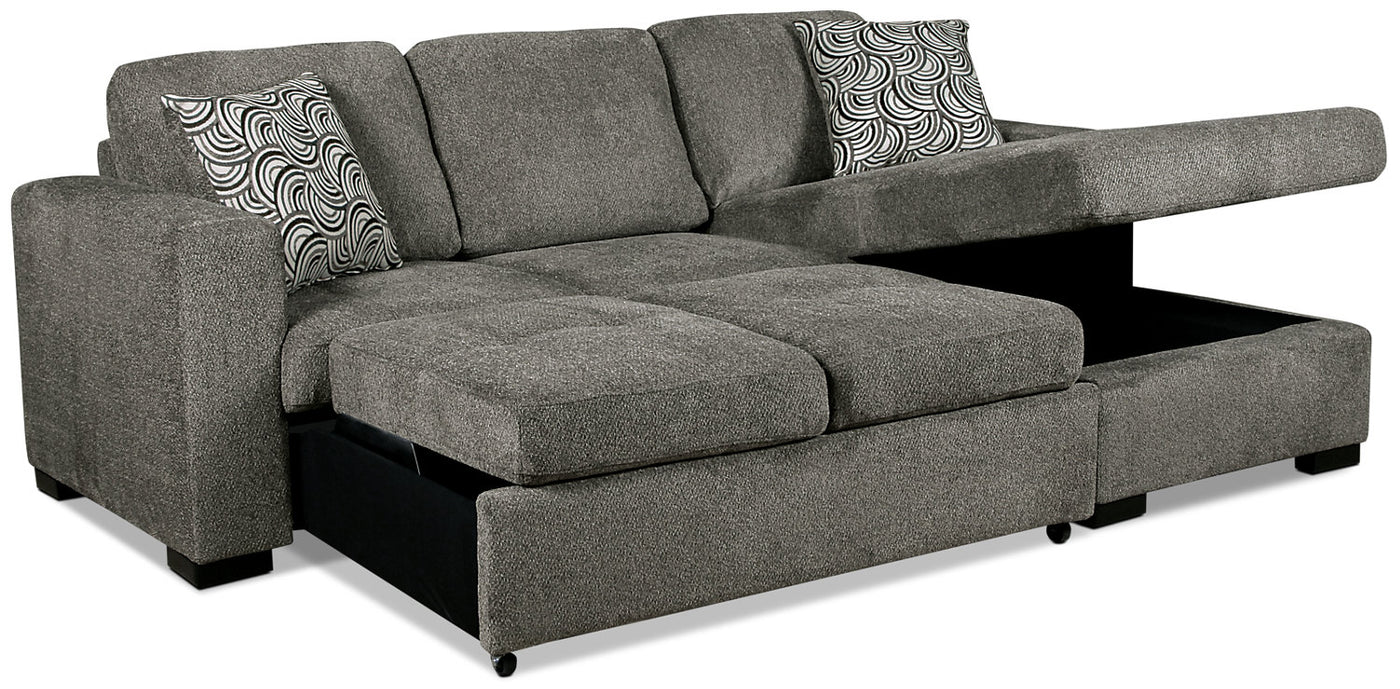 Izzy 2 Piece Chenille Right Facing Sleeper Sectional Pewter