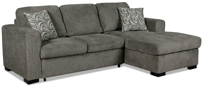 Izzy 2-Piece Chenille Right-Facing Sleeper Sectional – Pewter - Contemporary style Sleeper Sectional in Pewter