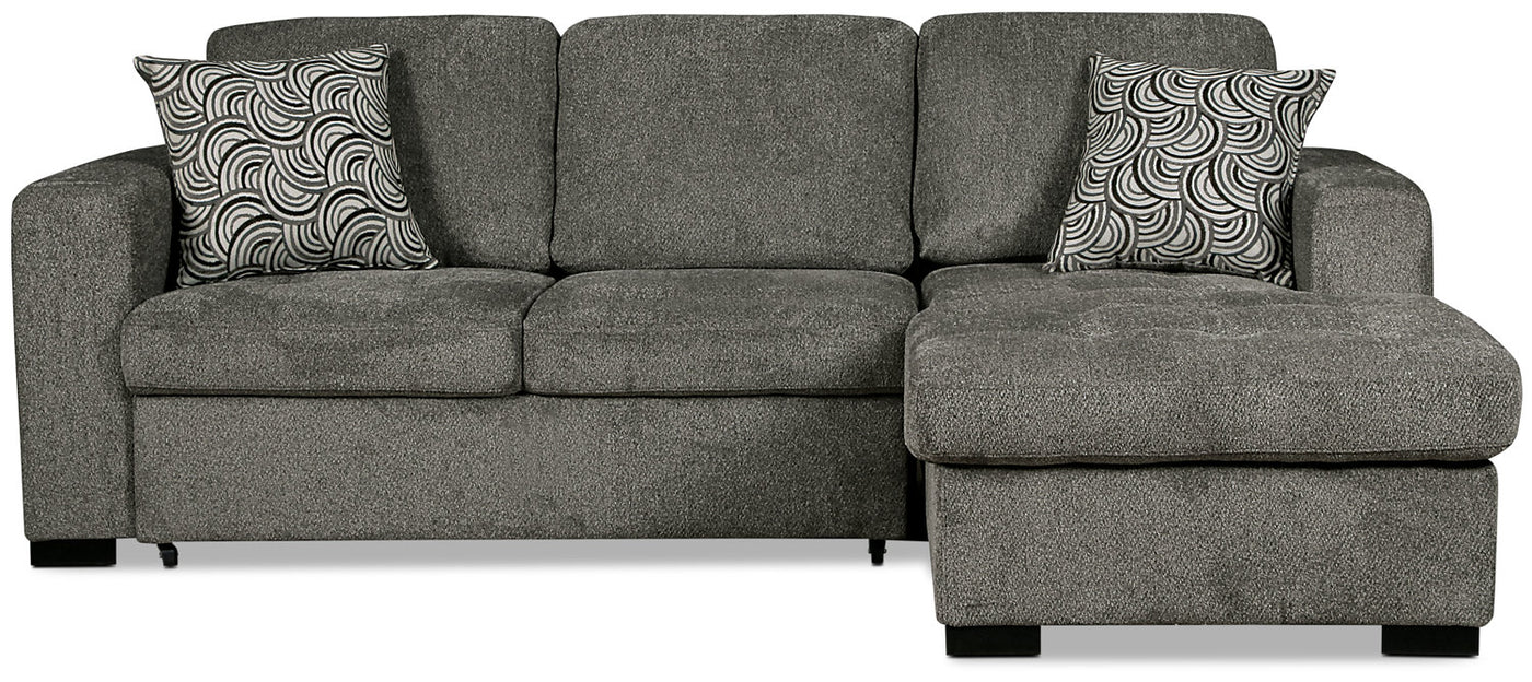Izzy 2-Piece Chenille Right-Facing Sleeper Sectional – Pewter