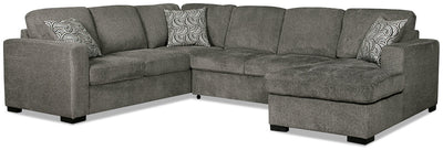 Izzy 3-Piece Chenille Right-Facing Sectional Sleeper – Pewter - Contemporary style Sleeper Sectional in Pewter