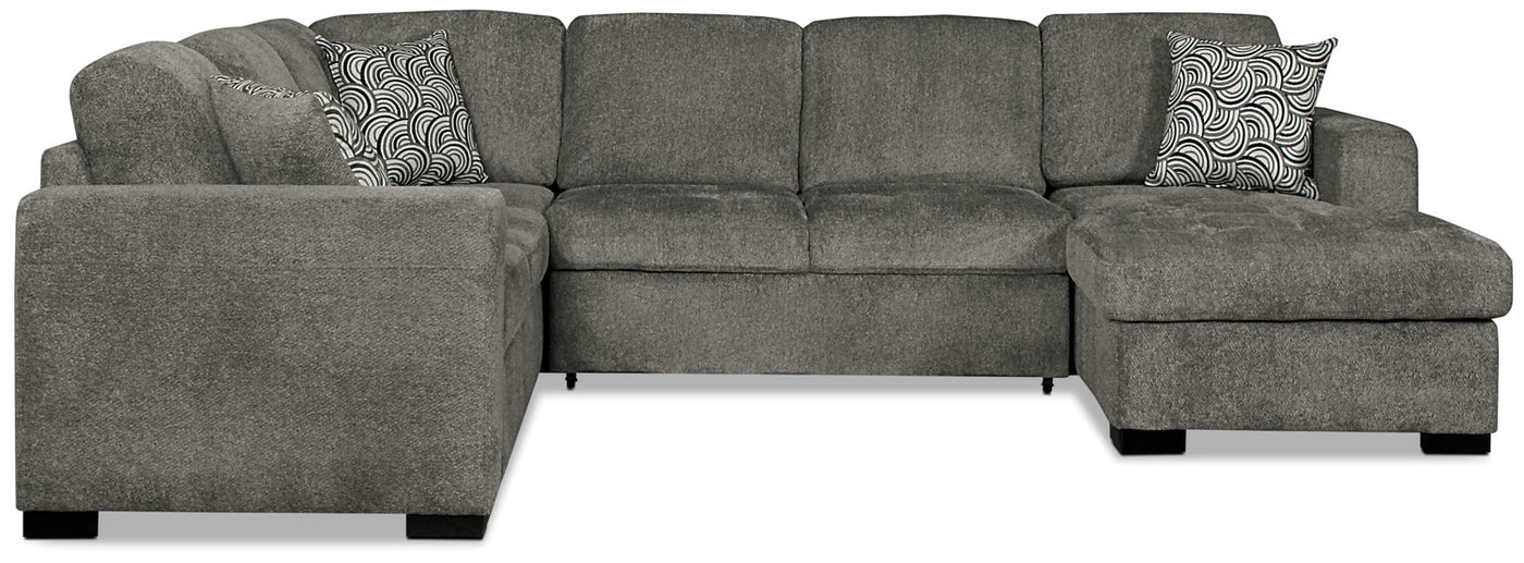 Izzy 3-Piece Chenille Right-Facing Sectional Sleeper – Pewter