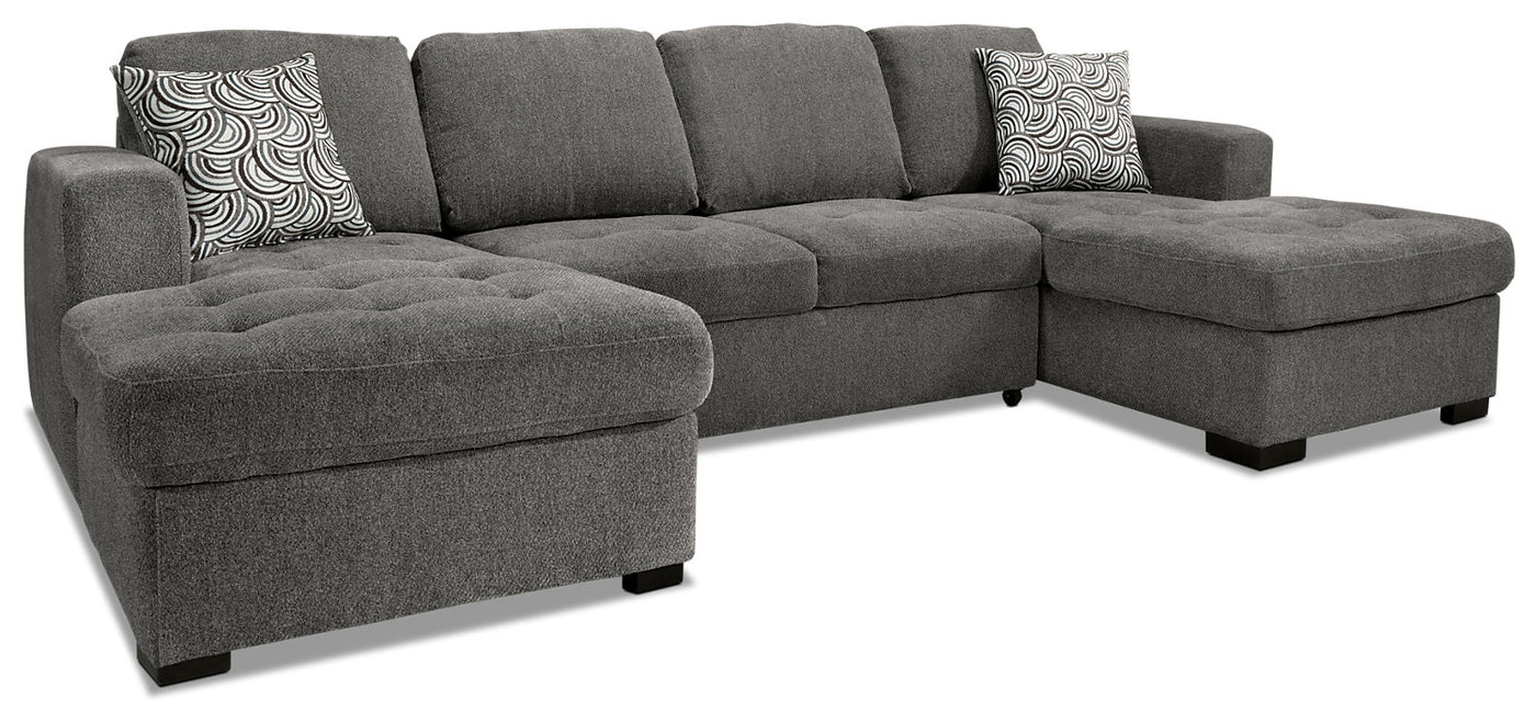 Izzy 3 Piece Chenille Sofa Bed Sectional With Two Chaises